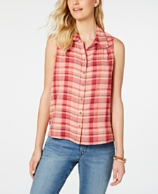 Style & Co Plaid Sleeveless Top, Created for Macy's