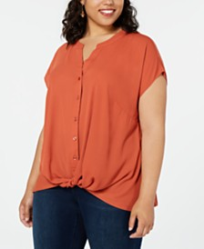 I.N.C. Plus Size Twist-Front Top, Created for Macy's