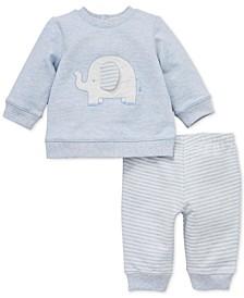 Baby Boys 2-Pc. Cotton Elephant Sweatshirt & Jogger Pants Set