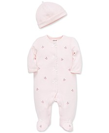 Baby Girls 2-Pc. Cotton Textured Embroidered Coverall & Hat Set