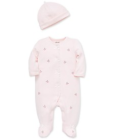 Little Me Baby Girls 2-Pc. Cotton Textured Embroidered Coverall & Hat Set