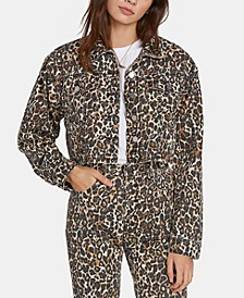 Juniors' Cropped Animal-Print Denim Jacket