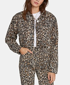 Volcom Juniors' Cropped Animal-Print Denim Jacket