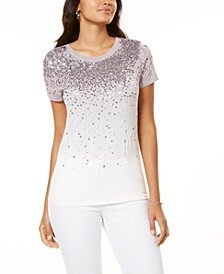 INC Sequin Ombré T-Shirt, Created for Macy's