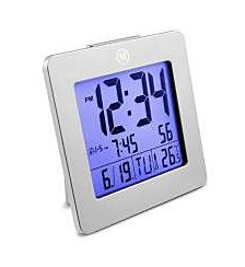 Marathon Digital Alarm Clock with Day, Date, Temperature