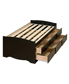 Tall Twin Captain's Platform Storage Bed with 6 Drawers