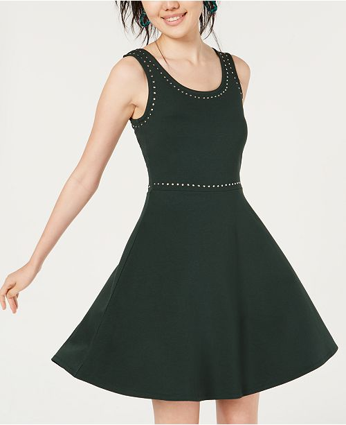 Rosie Harlow Juniors' Studded Fit & Flare Dress, Created for Macy's