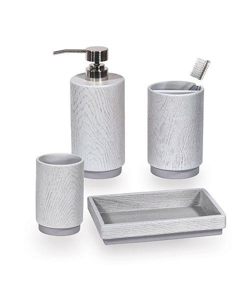 Dkny Grey Wood 4 Pc Bath Accessory Set