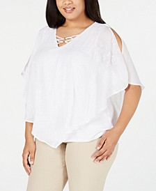 JM Collection Plus Size  Embroidered Textured Top, Created for Macy's