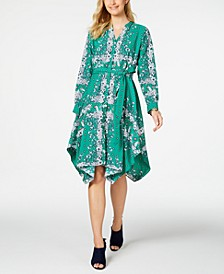 Petite Printed Handkerchief-Hem Shirtdress, Created For Macy's