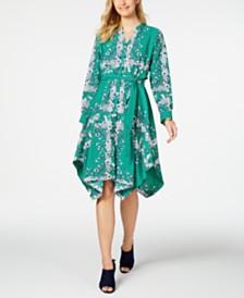 Charter Club Petite Printed Handkerchief-Hem Shirtdress, Created For Macy's