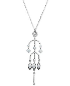 "Lucky Brand Silver-Tone Stone Pendant Necklace, 30"" + 2"" extender"