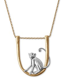 "Lucky Brand Two-Tone Hanging Monkey 35"" Pendant Necklace"