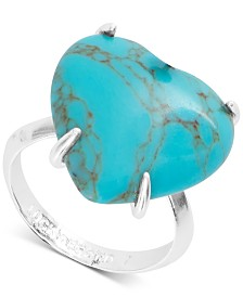 Lucky Brand Silver-Tone Stone Heart Ring