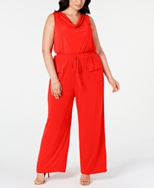 Vince Camuto Trendy Plus Size Cowlneck Jumpsuit