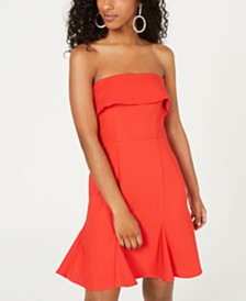 Teeze Me Juniors' Strapless Popover A-Line Dress