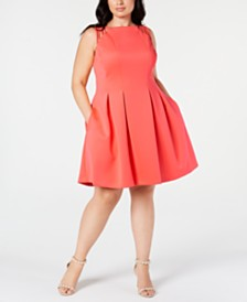 Vince Camuto Trendy Plus Size Pleated Fit & Flare Dress