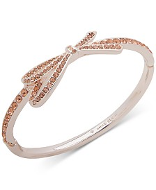 Anne Klein Rose Gold-Tone Pavé Bow Bangle Bracelet