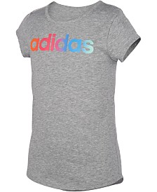 adidas Big Girls Rainbow Logo-Print T-Shirt