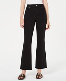 Bar III Marley High-Waist Frayed-Hem Cropped Pants, Created for Macy's