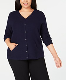 Eileen Fisher Plus Size Tencel V-Neck Cardigan