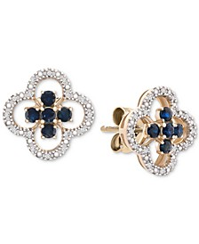 Sapphire (1/2 ct. t.w.) & Diamond (1/10 ct. t.w.) Stud Earrings in 14k Gold