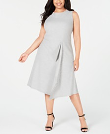 Calvin Klein Plus Size Striped Fit & Flare Dress