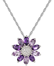 "Amethyst (1-9/10 ct. t.w.) & White Topaz (1/5 ct. t.w.) 18"" Pendant Necklace in Sterling Silver"