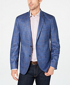 Men's Classic-Fit UltraFlex Stretch Bright Blue Windowpane Sport Coat