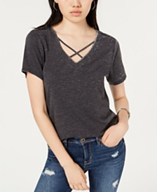 Ultra Flirt By Ikeddi Juniors' Crisscross V-Neck T-Shirt