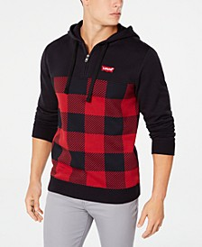 Men's Quarter-Zip Plaid Hoodie
