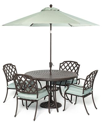 CLOSEOUT Nottingham Outdoor Cast Aluminum 5 Pc Dining Set 48