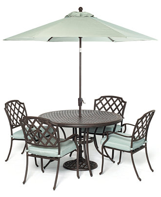 Nottingham outdoor cast aluminum 5 pc dining set 48 for Metal patio table and 4 chairs