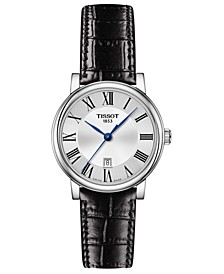 Women's Swiss Carson Black Leather Strap Watch 30mm