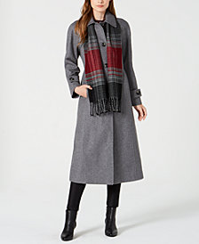 London Fog Maxi Coat & Plaid Scarf