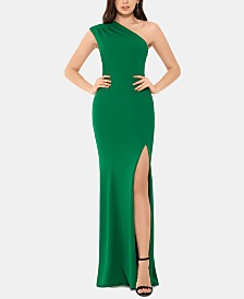 XSCAPE One-Shoulder Scuba Gown