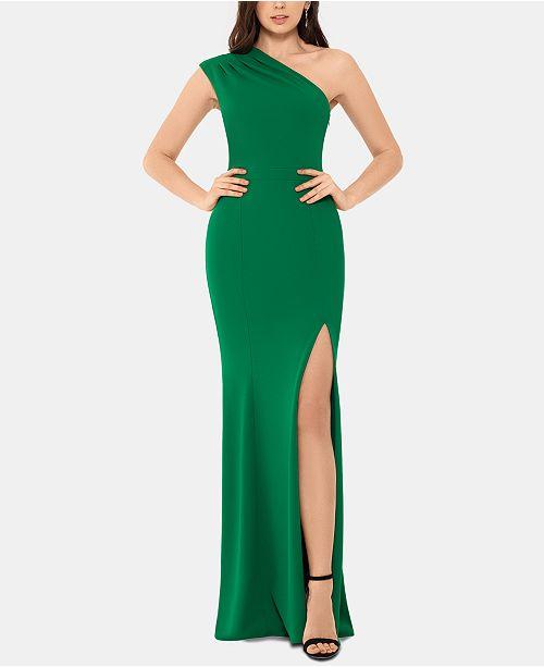 XSCAPE One-Shoulder Scuba Gown