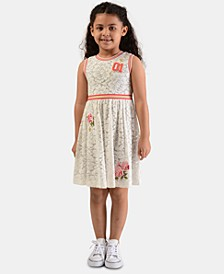 Little Girls Rib-Trim Floral Lace Dress