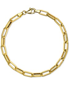 Paperclip Link Chain Bracelet in 14k Gold