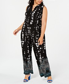 I.N.C. Plus Size Printed Wide-Leg Jumpsuit, Created for Macy's