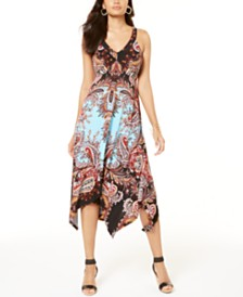 I.N.C. Petite Paisley Handkerchief-Hem Dress, Created for Macy's