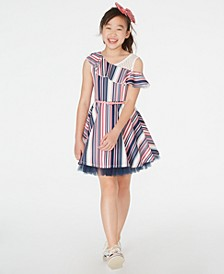 Big Girls Ruffled Belted Skater Dress & Bow Clip