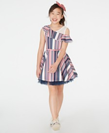 Beautees Big Girls Ruffled One-Shoulder Skater Dress & Bow Clip