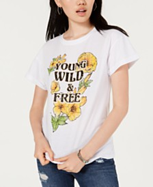 Rebellious One Juniors' Wild & Free Cotton Graphic T-Shirt