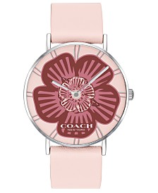 COACH Women's Perry Pink Leather Strap Tea Rose Dial Watch 36mm, Created For Macy's