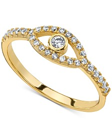 Unwritten Cubic Zirconia Evil Eye Ring in Gold-Tone Sterling Silver