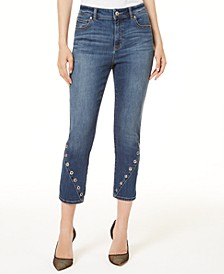 INC Grommet-Detail Cropped Skinny Jeans, Created for Macy's