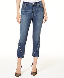 I.N.C. Petite Grommet High Rise Cropped Skinny Jeans, Created for Macy's