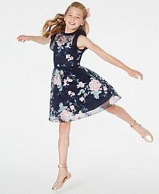 Big Girls Embroidered Illusion Dress