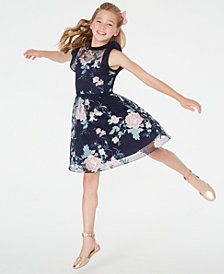 Sequin Hearts Big Girls Embroidered Illusion Dress